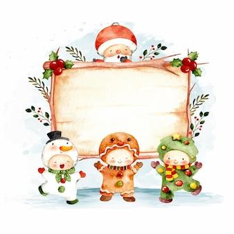 水彩クリスマスウッドサインテンプレート