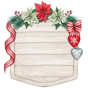 Акварель рождественский деревянный знак с пуансеттия и украшениями