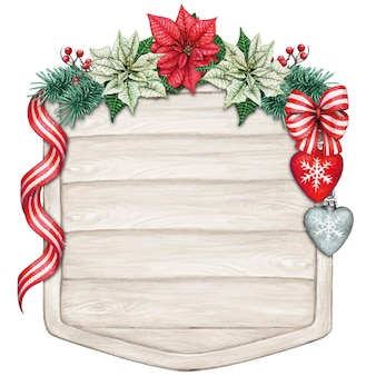 Watercolor christmas wooden sign with poinsettia and decorations