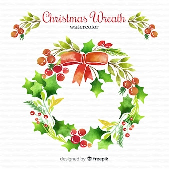 Watercolor christmas wreath background
