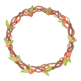 Watercolor christmas wreath of branches, leaves and flowers