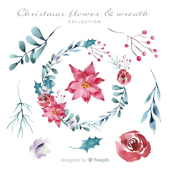 Watercolor christmas wreath collection