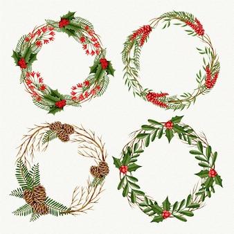 Коллекция акварельных рождественских венков