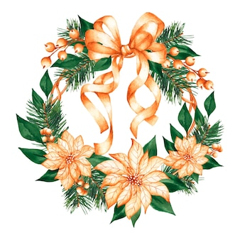 Watercolor christmas wreath concept