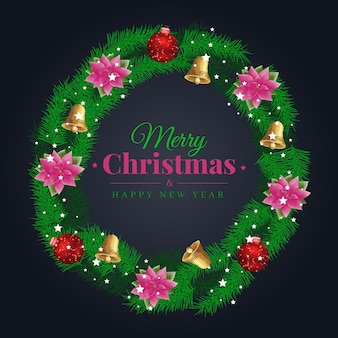 Watercolor christmas wreath green leaf decorated logo with red ball