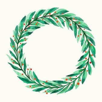 Акварель рождественский венок иллюстрация