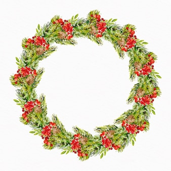 Watercolor christmas wreath illustration