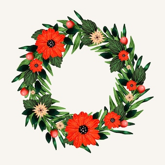 Watercolor christmas wreath template