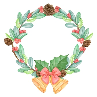 Акварельный рождественский венок с бантом и колокольчиками
