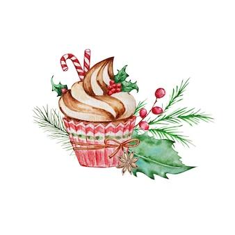 Акварель рождественский венок с ветвями, цветами пуансеттии, ягодами падуба.