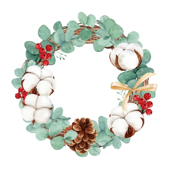 Watercolor christmas wreath with cotton flower and eucalyptus