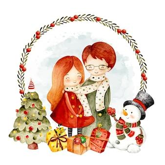 カップルと水彩のクリスマスリース