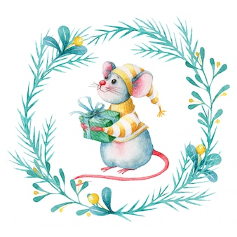Watercolor christmas wreath with cute cartoon mouse
