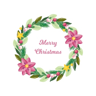 Watercolor christmas wreath with decoration