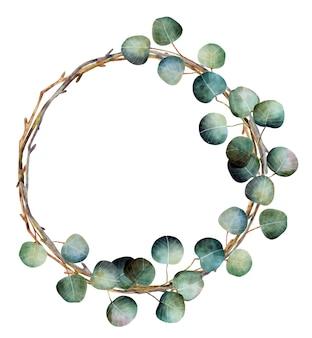 ユーカリの枝を持つ水彩クリスマスの花輪
