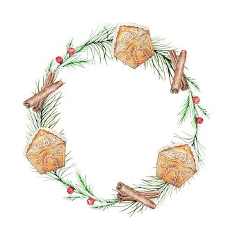 Акварель рождественский венок с фоном еловых и сосновых ветвей и ягод.