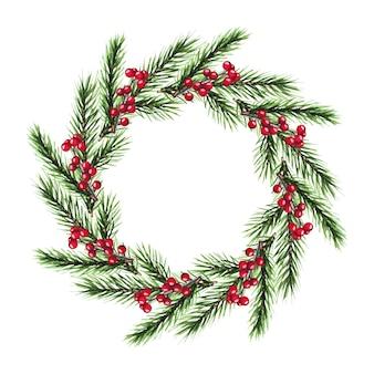 モミの枝、ベリーと水彩のクリスマスリース。メリークリスマス、そしてハッピーニューイヤー。
