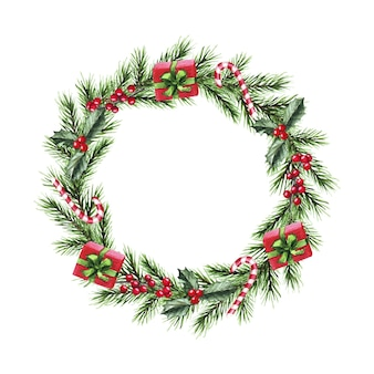 Watercolor christmas wreath with fir branches, presents, candy, berries. merry christmas, new year.