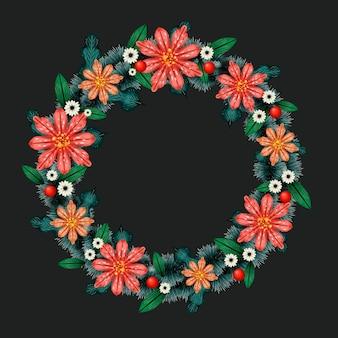花と水彩のクリスマスリース