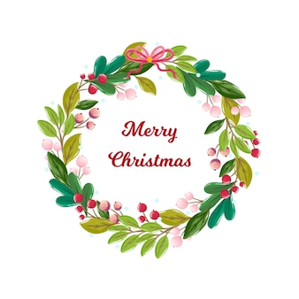 Watercolor christmas wreath with greeting