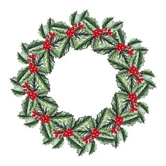 ヒイラギと水彩のクリスマスリース。メリークリスマス、そしてハッピーニューイヤー。