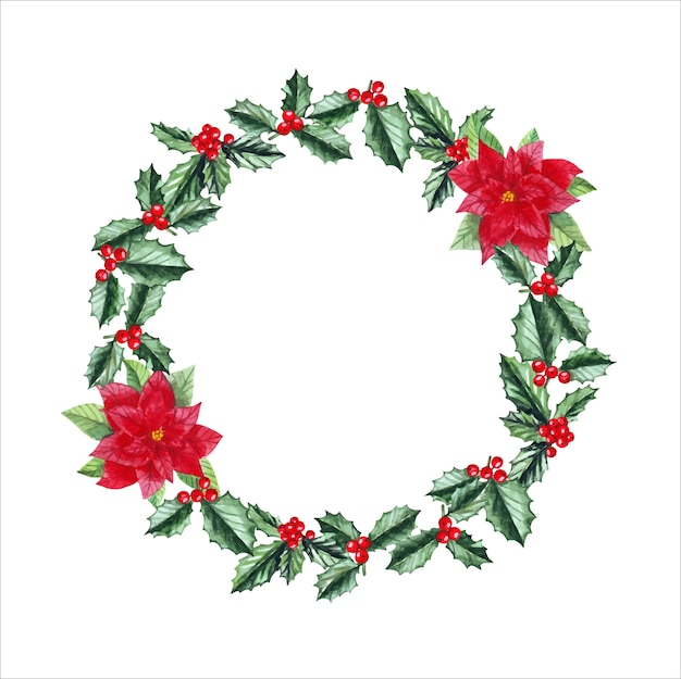 Watercolor christmas wreath with holly, poinsettia, berries and place for text.