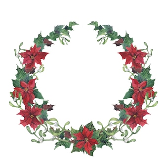 Watercolor christmas wreath with holly