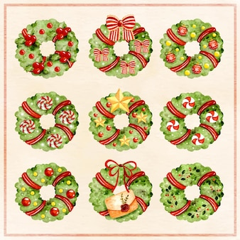 Watercolor christmas wreath with ornaments