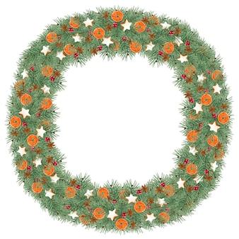Акварельный рождественский венок с анисовым звездчатым печеньем и апельсинами