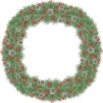 Акварельный рождественский венок с шишками и сосновыми ветками
