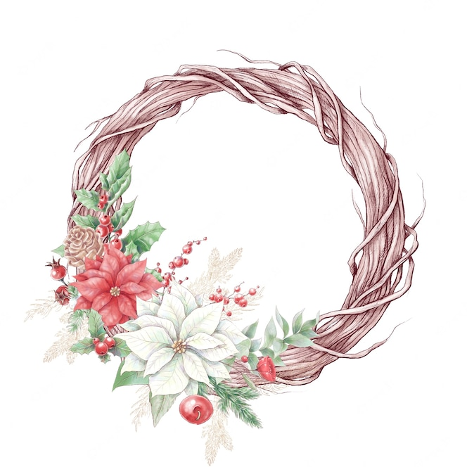 Watercolor christmas wreath with poinsettia flowers