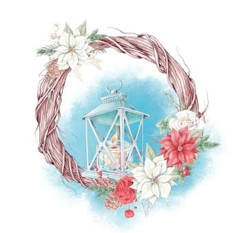 Акварельный рождественский венок с цветами пуансеттии