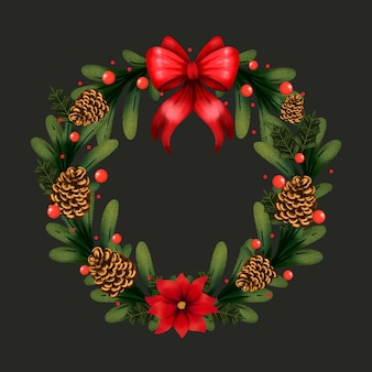 Watercolor christmas wreath with red bow