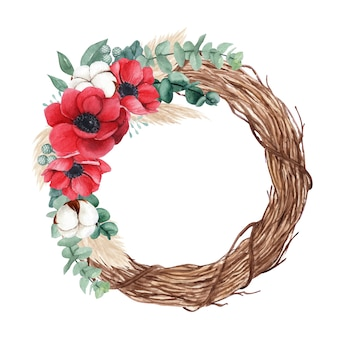 Акварельный рождественский венок с красными маками, цветком хлопка и пампасной травой