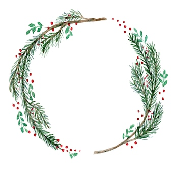 Watercolor christmas wreath with twigs and berries