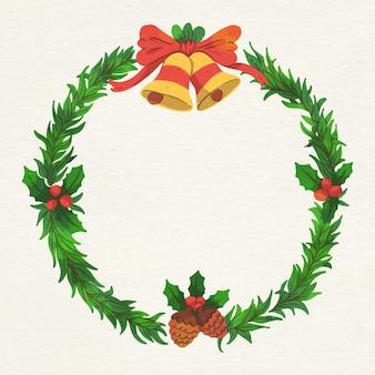 Акварель рождественский венок