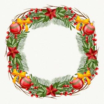 Акварельный рождественский венок