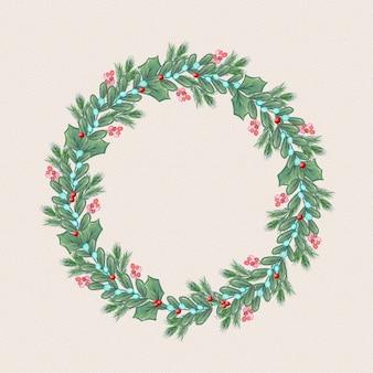 水彩のクリスマスリース