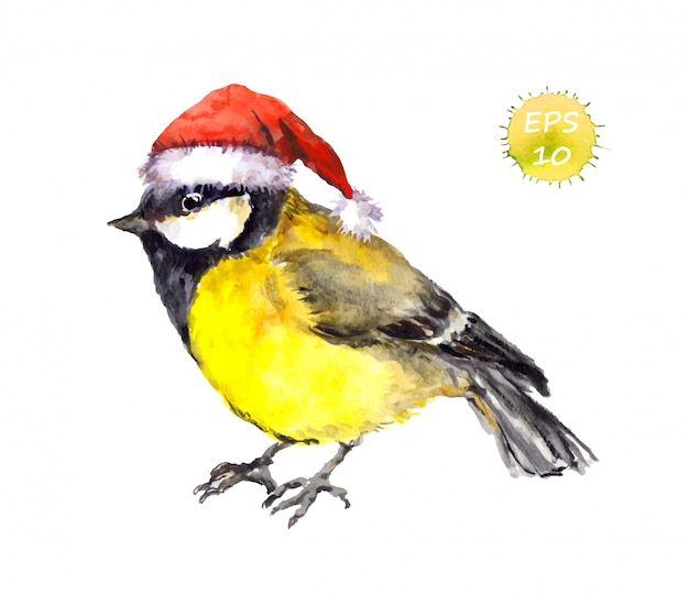 Watercolor christmas yellow tit bird in red santa hat