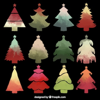Watercolor chritmas trees collection