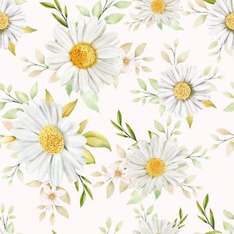 水彩菊のシームレスパターン