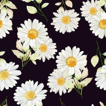 Акварель хризантемы бесшовные модели