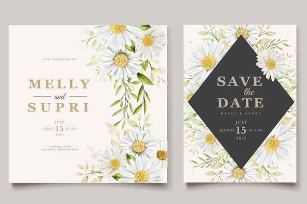 Insieme della carta dell'invito di estate del crisantemo dell'acquerello