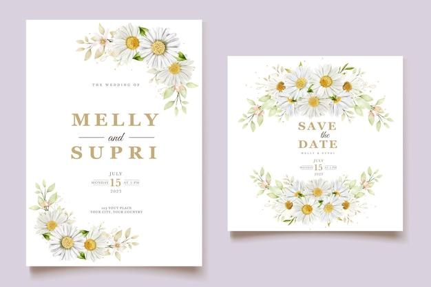 Carta di nozze del crisantemo dell'acquerello