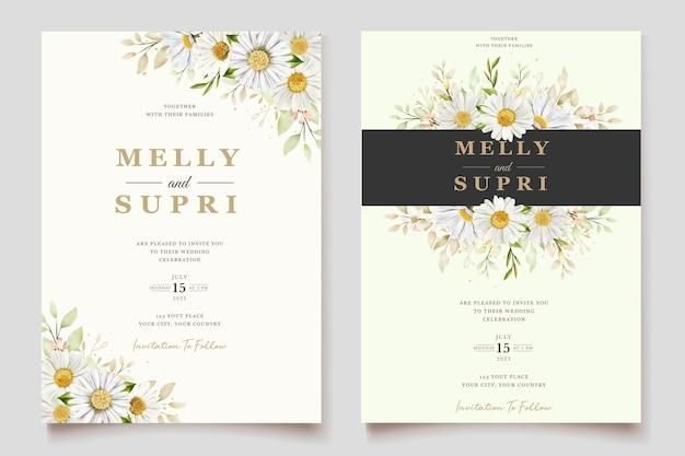 Свадебная открытка с акварельными хризантемами