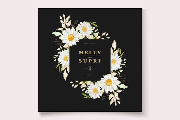수채화 국화 웨딩 카드