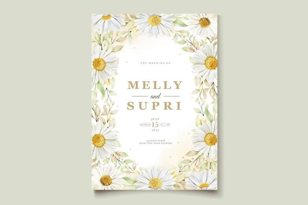 Carta di matrimonio con crisantemo ad acquerello