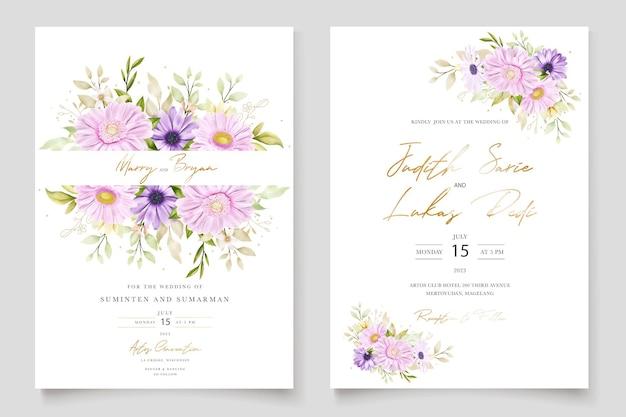 Акварель хризантема свадебная открытка