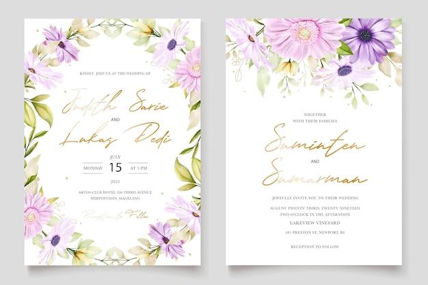 Watercolor chrysanthemum wedding card