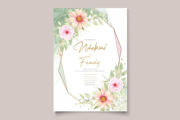Watercolor chrysanthemumwedding招待状セット